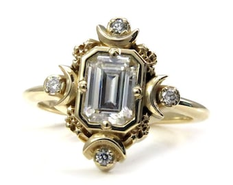 Step Emerald Cut Artemis Moon Engagement Ring with Moissanite and Diamonds - Moon Phase Engagement