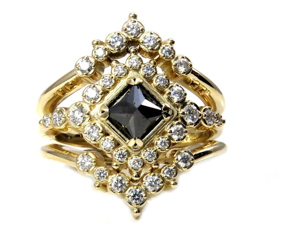 Gold Bohemian Engagement Ring Set - Black Square Diamond with Tiny White Diamonds and Crown Wedding Bands