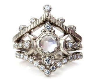 Snow Moon Engagement Ring Set - Rose Cut Moonstone and Diamonds