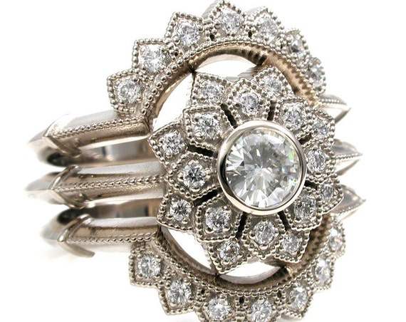 Art Deco Double Petal Halo Ring with 2 Matching Diamond Side Bands - 14k Palladium White Gold - Diamond Engagement Ring Set