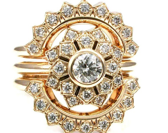 Ultimate Engagement Ring Set - Flower Art Deco Double Halo 3 Ring Wedding Set - Diamonds and 14k Yellow Gold