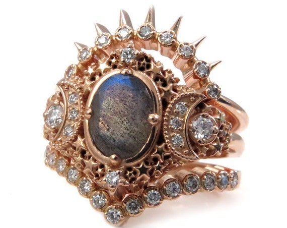 Starseed Labradorite Engagement Ring Set - 14k Rose Gold & Diamonds - Celestial Stacking Wedding Set