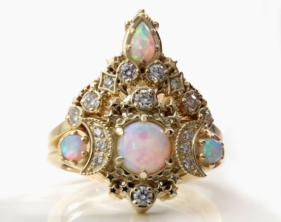 Lab Opal Cosmos Moon Engagement Ring Set - Yellow Gold Lunar 3 Stone Crescent Diamond Rings