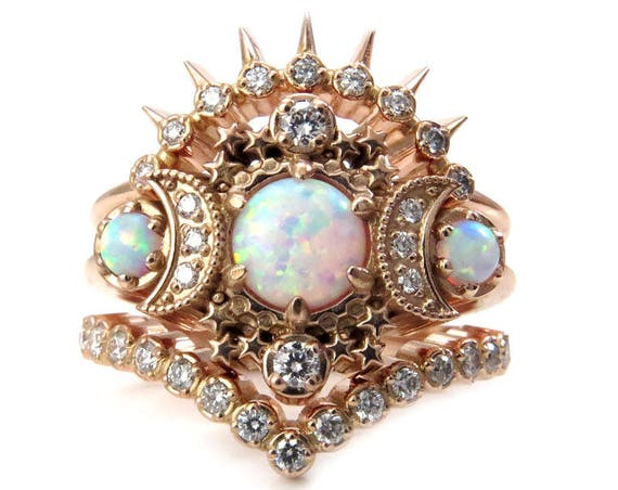 Cosmos Moon Engagement Ring 3 Ring Set with Lab Opals and Diamonds - Boho Celestial Wedding Set