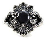 Gothic Snake and Crescent Moon Engagement Ring - Black Tourmaline and Black Diamonds