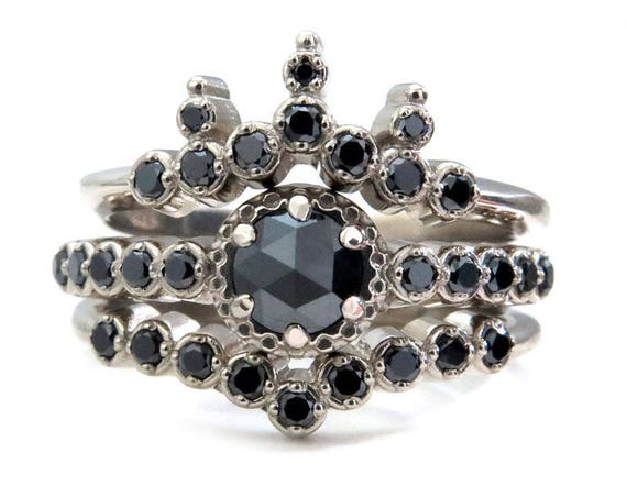 Noir Engagement Ring Set - Black Diamond Engagement Ring with Crown Band and Chevron Stacking Ring