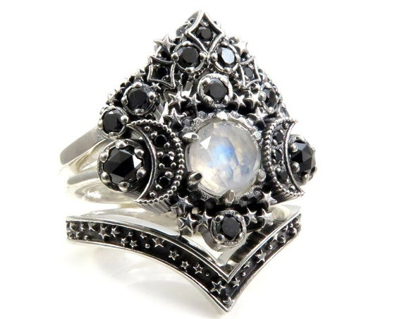 Gothic Moonstone Cosmos Moon Engagement Ring Set - Sterling Silver and Black Diamonds