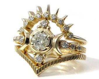 Galaxy Diamond Compass Moon Ring Set with Diamond Sunray Band and Chevron