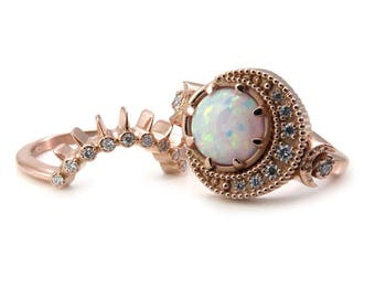 Lab White Opal Moon Phase Engagement Ring Set with Diamond Sunray Wedding Band - 14k Yellow, Rose or Palladium White Gold