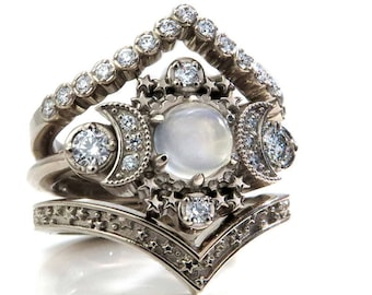 Full Moon Moonstone Engagement Ring Set - Cosmos Stardust and Diamond Chevron Wedding Bands