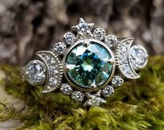 Ready to Ship Size 6 - 8 - Selene Moon Goddess Engagement Ring Set - Seafoam Moissanite & Diamond Celestial Wedding Ring Set