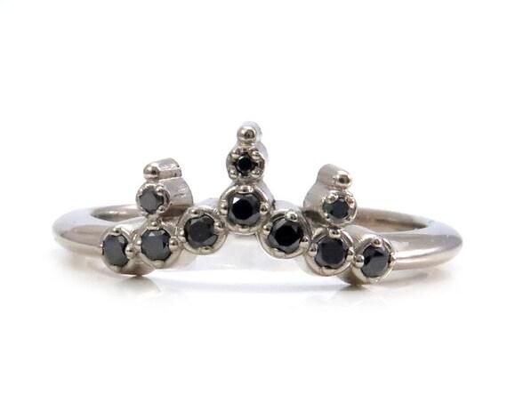 Black Diamond Starburst Crown Stacking Ring - 14k White, Rose or Yellow Gold Wedding Band