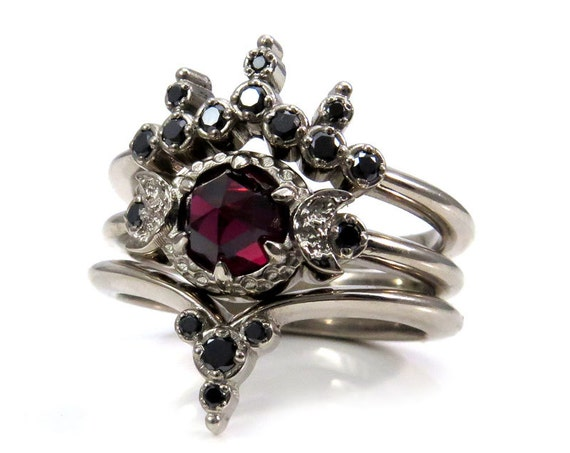 Blood Moon Gothic Engagement Ring Set - Rose Cut Garnet with Black Diamond Side Bands - Triple Moon Goddess