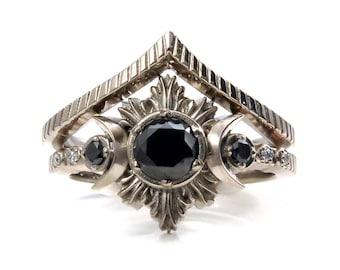 New Moon Gothic Black Diamond Engagement Ring Set - Black Diamonds with Chevron Wedding Band
