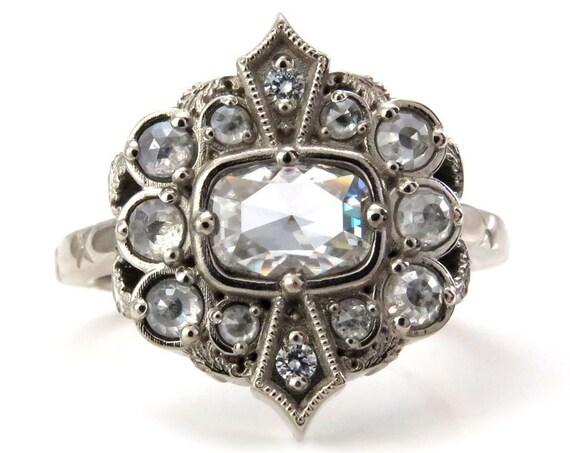 Ready to Ship Size 6 - 8 - Art Deco Rose Cut Antique Cushion Moissanite Ring with Rose Cut Gray Diamond Halo - 14k Palladium White Gold