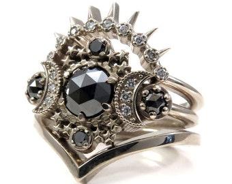 Cosmos Moon Engagement Ring 3 Ring Set with Black & White Diamonds - Gothic Celestial Wedding Set - 14k Gold