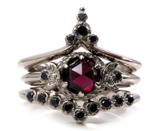 Temple of the Harvest Moon - Rose Cut Garnet and Black Diamond Gothic Moon Phase Engagement Ring Set