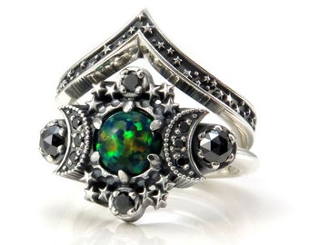 Black Lab Opal Cosmos Moon Engagement Ring Set - Sterling Silver with Black Diamonds - Lunar Gothic Jewelry