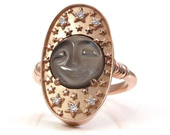Ready to Ship Size 6 - 8 - Mr. Moon Celestial Cocktail Ring - Gray Moonstone Moon with Diamond Stars - 14k Rose Gold