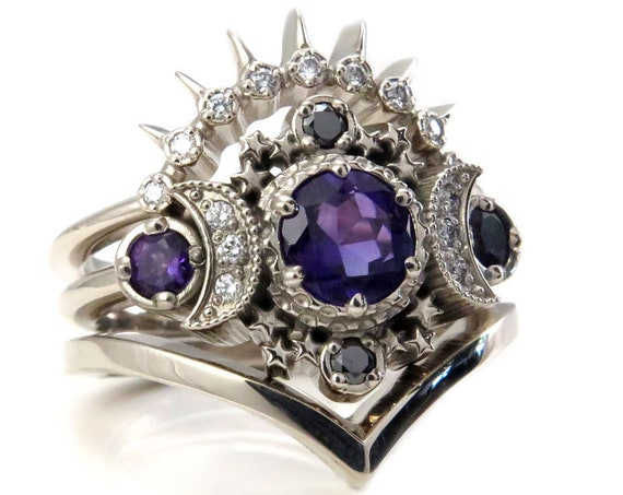 Amethyst & Diamond Cosmos Lunar Engagement Ring Set - Triple Moon and Star Wedding Rings