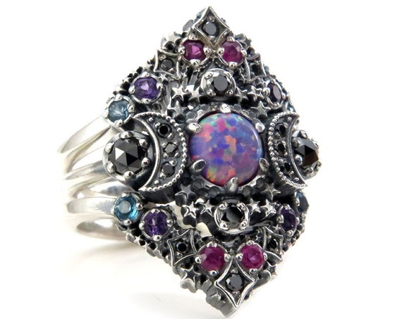 Purple Lab Opal Cosmos Nebula Moon and Star Ring Set - Sterling Silver with Black Diamonds and Double Stardust Chevrons