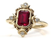 Step Emerald Cut Chatham Ruby Artemis Moon Engagement Ring with Diamonds - Moon and Stars Wedding