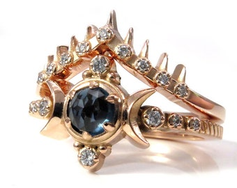 London Blue Topaz Compass Moon Engagement Ring Set with Spiked Diamond Crown Wedding Band - 14k Rose Gold Jewelry