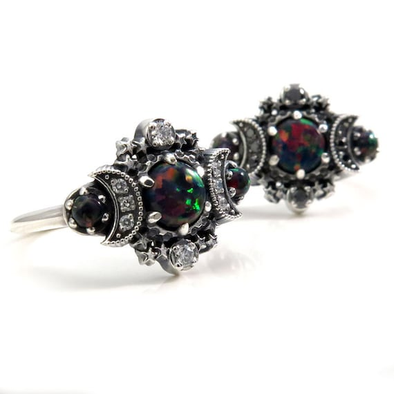 Ready to Ship Size 4 - 6 - Lab Black Opal Cosmos Moon and Star Ring - Sterling Silver with Black or White Diamonds