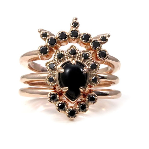 Pear Onyx and Black Diamond Asteroid Engagement Ring Set - 14k Rose Gold