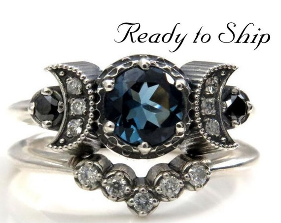 Ready to Ship Size 6 - 8- Hecate Triple Moon Engagement Ring Set - London Blue Topaz - Sterling Silver with Silver Galaxy and Black Diamonds