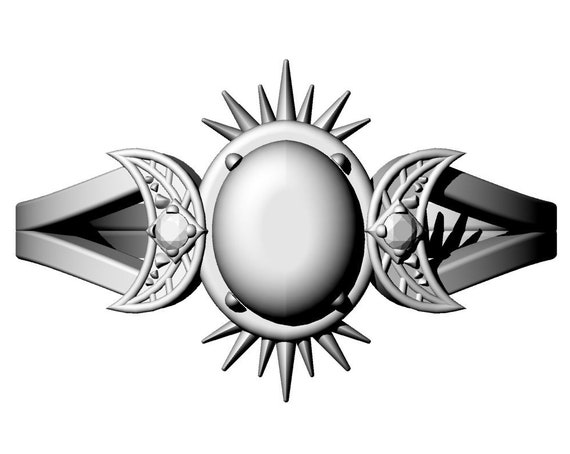 FRIGG - Diamond #7 - Rose Cut Salt & Pepper Oval Diamond Ring with Crescent Moons and Split Shank