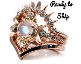 Blood Moon Goddess Engagement Ring Set With Black Diamond Etsy