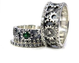 Steampunk Black Silver Gear Ring Steam Punk Wedding Ring
