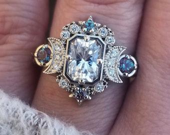 Emerald Cut Selene Moon Goddess Engagement Ring - Moissanite , Diamond and Chatham Alexandrite - 14k Palladium White Gold