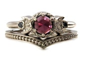 Moon Phase Engagement Ring with Garnet and Black Diamonds with Millgrain Chevron Wedding Band