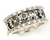 SteamPunk Mens Silver Ring - Gears and Rivets - Industrial Steam Punk - Handmade Gear Ring