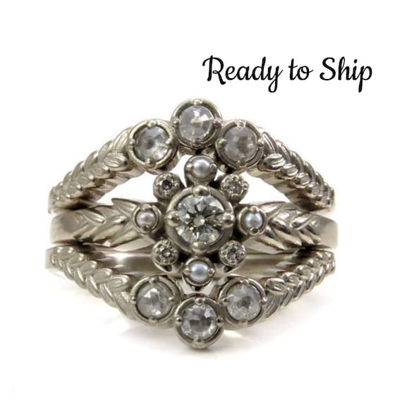 Ready to Ship Size 6-8 - Sage and Sweetgrass Diamond Engagement Ring Set - Champagne and Grey Diamond Botanical Jewelry