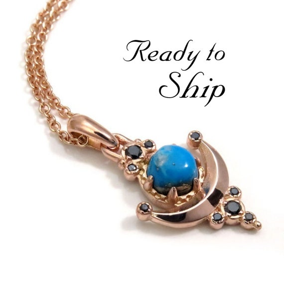 Ready to Ship - Ithaca Peak Turquoise Moon Anchor Pendant with Black Diamonds - 14k Rose Gold