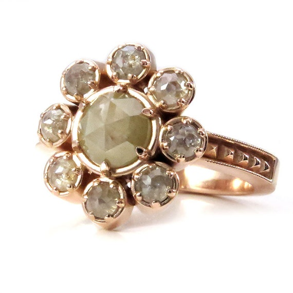 Ready to Ship Size 6 - 8 - Rose Cut Gray Diamond Cluster Engagement Ring - 14k Rose Gold 2.38 carats - One of a Kind
