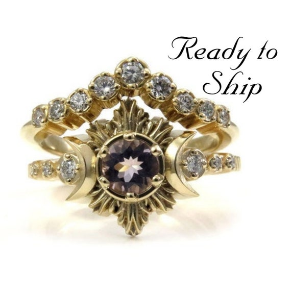 Ready to Ship Size 6 - 8 - Morganite and Diamond Engagement Ring Set - 14k Yellow Gold Ceremonial Jewelry