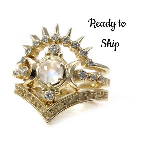 Ready to Ship Size 6-8 - Moonstone Compass Moon Engagement Ring Set - 14k Yellow Gold and Diamonds