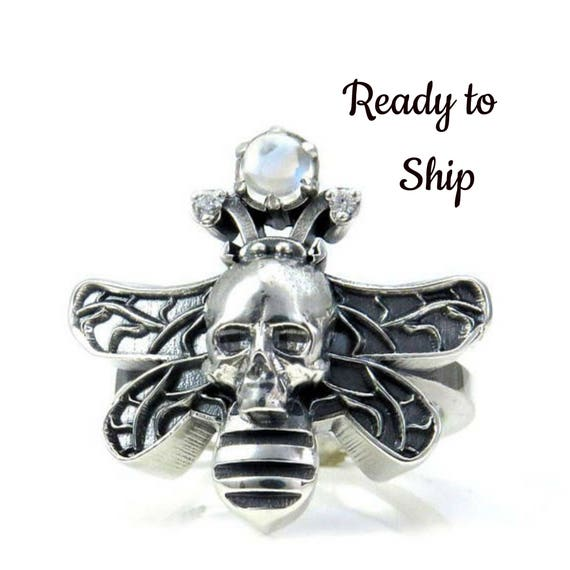 Ready to Ship Size 6 - 8 Moth Man Ring - Sterling Silver with Moonstone Orb - Large Cocktail Ring