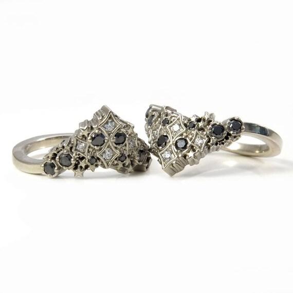 Diamond Stardust Wedding Band - Boho Celestial Side Band with Black or White Diamonds