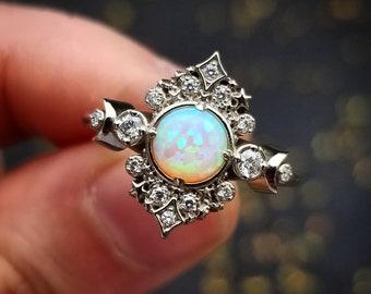 White Lab Opal Galaxie Engagement Ring - 14k Palladium White Gold - Black or White Diamond Sides - Moon Phase Wedding Ring