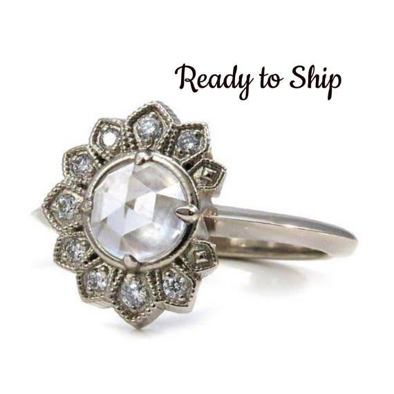 Ready to Ship Size 6 - 8 White Topaz Eclipse Engagement Ring with White Diamonds  - 14k Palladium White Gold