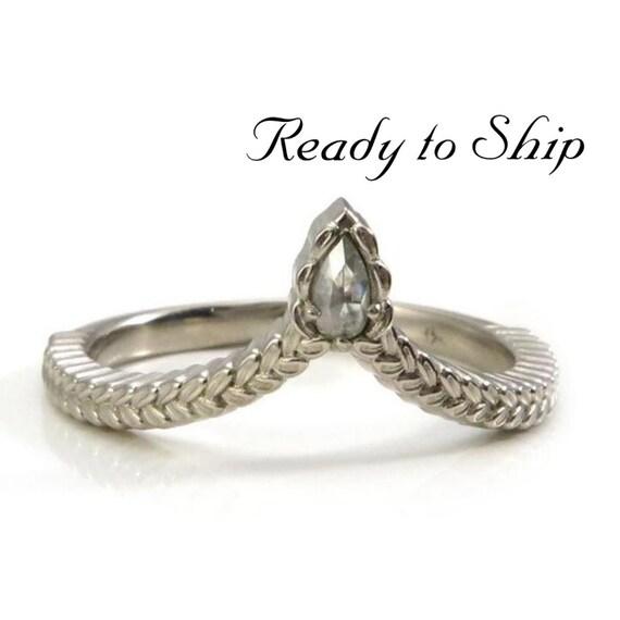 Ready to Ship Size 6 - 8 - Sage Leaf Chevron with Natural Rose Cut Gray Galaxy Pear Diamond - 14k Palladium White Gold
