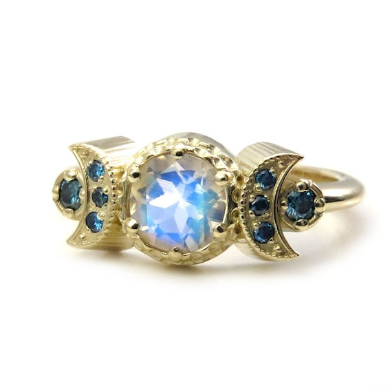 Hecate Moonstone Moon Engagement Ring with Irradiated Blue Diamonds - 14k Yellow Gold - Limited Edition