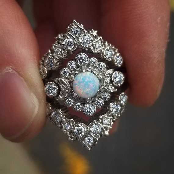 Lab Opal Moon and Stardust Engagement Ring Set - White Diamonds in 14k Palladium White Gold