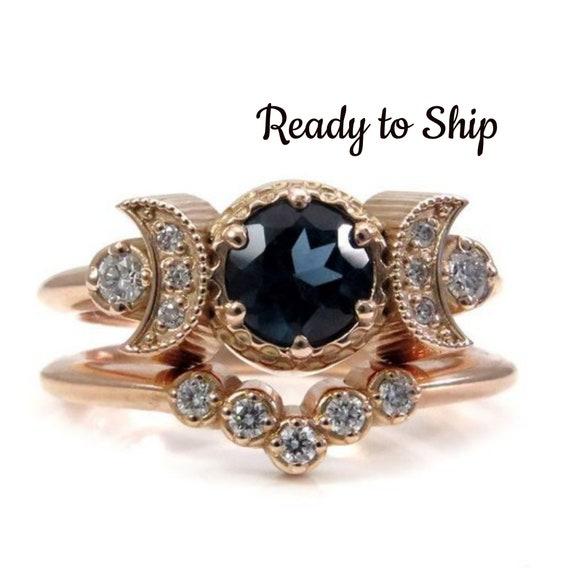 Ready to Ship Size 6 - 8 - Hecate Moon Engagement Ring Set - London Blue Topaz & White Diamonds with Diamond Chevron Wedding Band