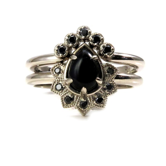 Pear Onyx and Black Diamond Gothic Cluster Engagement Ring with Crown Wedding Band - 14k Palladium White Gold